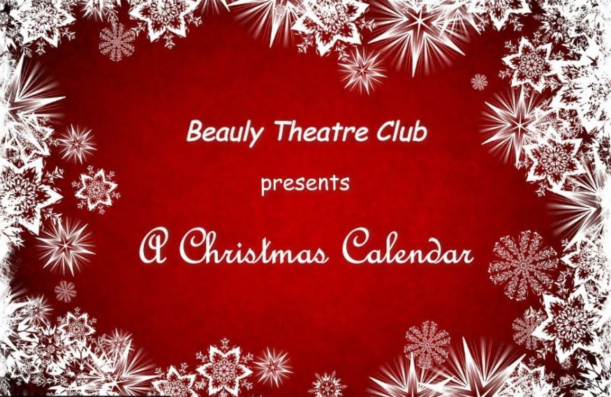 Title page for A Christmas Calendar in red with snow flakes